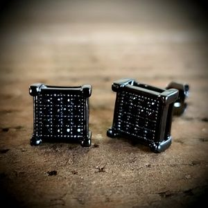 Black Block Simulated Diamond Earrings